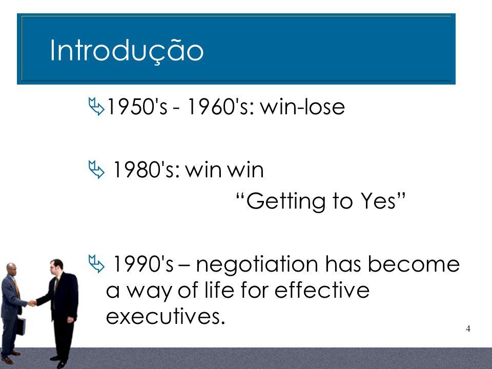 Introdução Introdução 1950 s - 1960 s: win-lose 1980 s: win win
