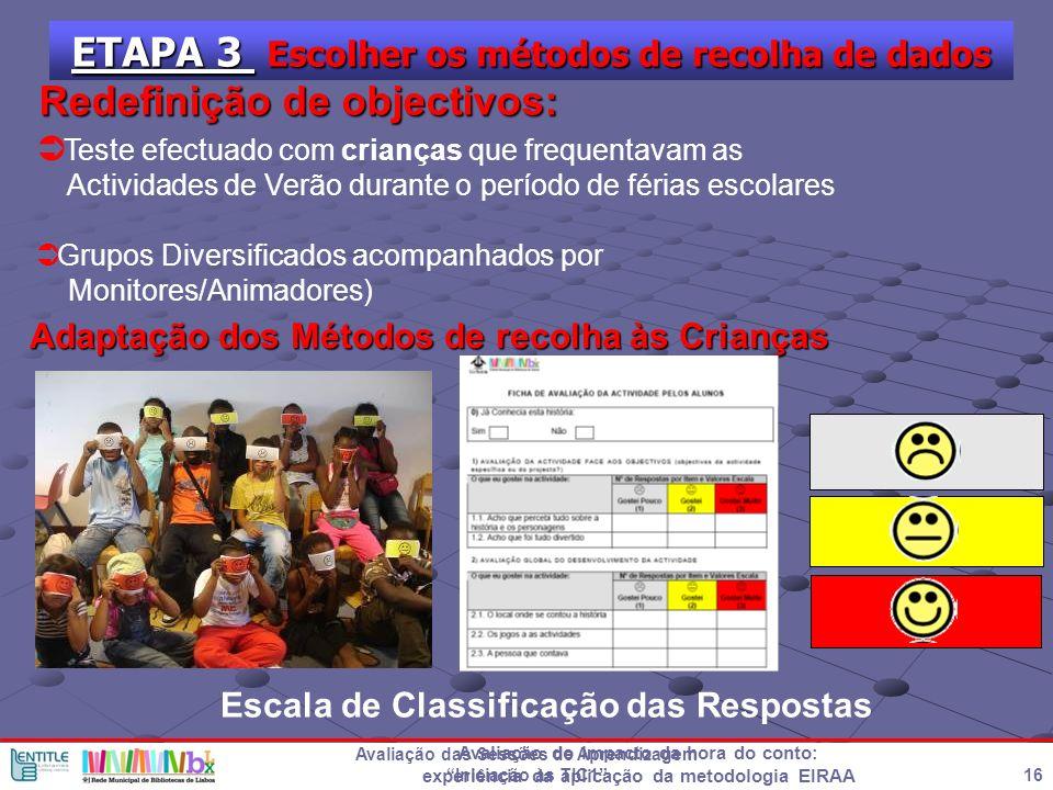 ETAPA 3 Escolher os métodos de recolha de dados