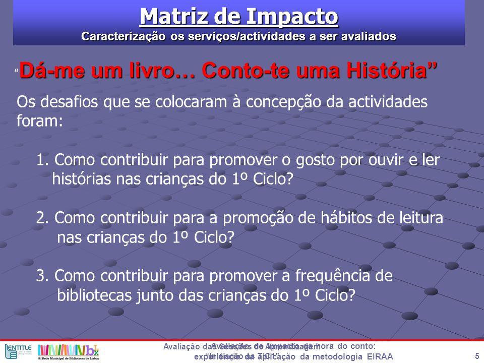 Matriz de Impacto Caracterização os serviços/actividades a ser avaliados. Dá-me um livro… Conto-te uma História