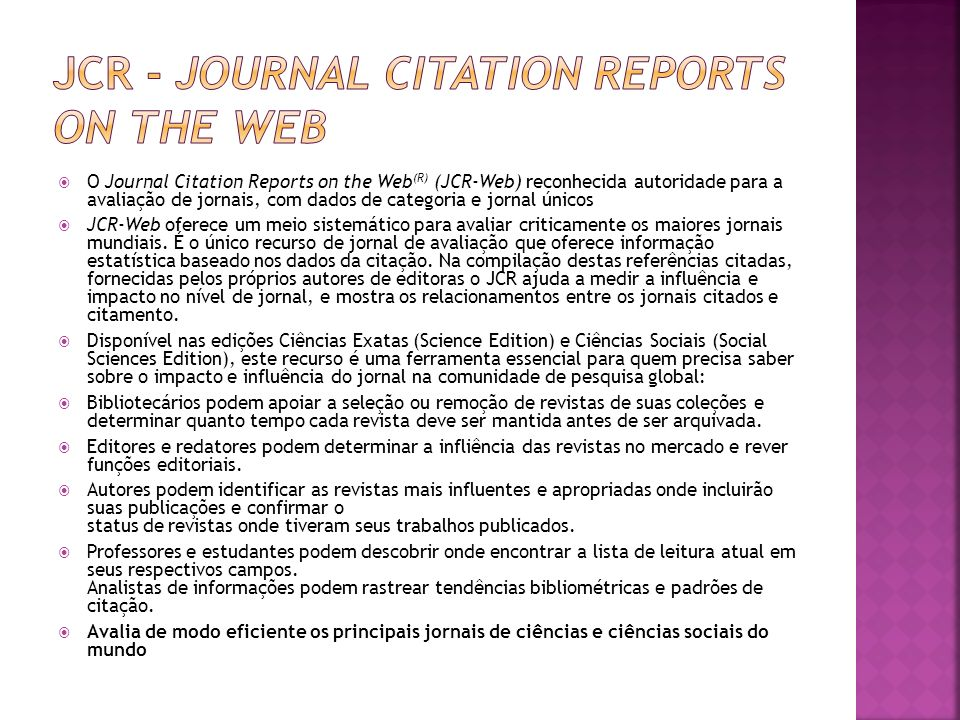 Jcr - Journal Citation Reports on the Web