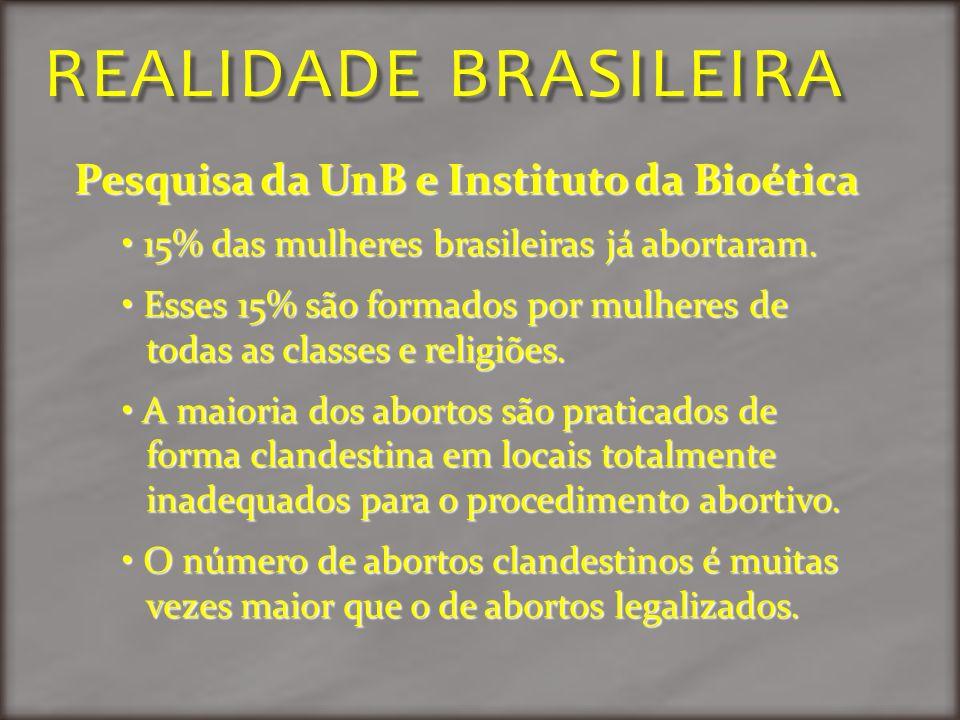 REALIDADE BRASILEIRA Pesquisa da UnB e Instituto da Bioética