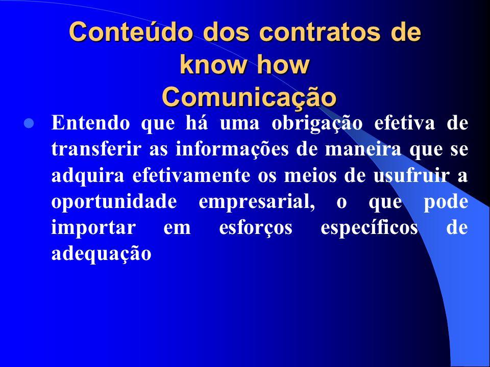 Conteúdo dos contratos de know how Comunicação