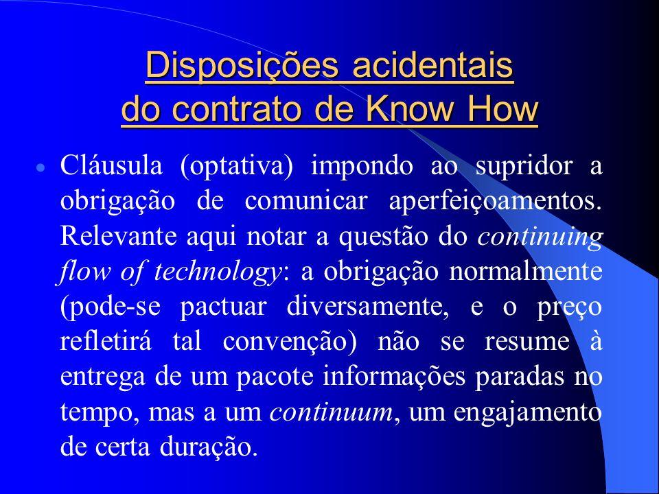 Disposições acidentais do contrato de Know How