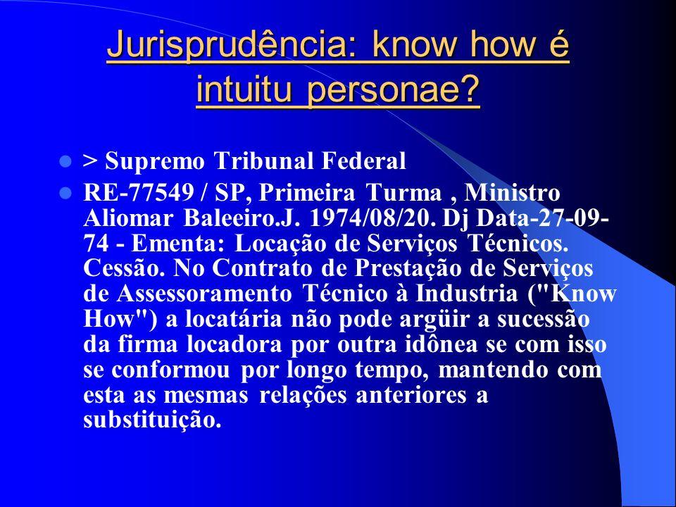 Jurisprudência: know how é intuitu personae