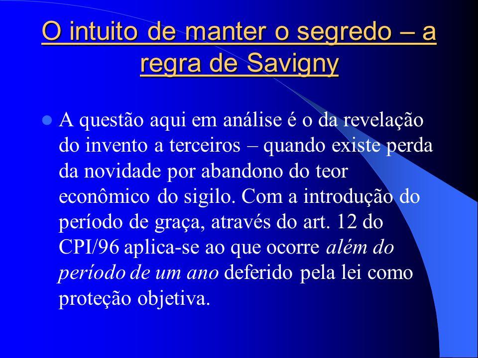 O intuito de manter o segredo – a regra de Savigny