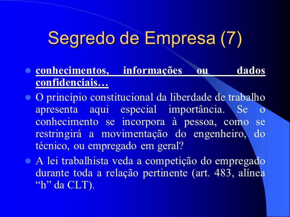 Segredo de Empresa (7) conhecimentos, informações ou dados confidenciais…