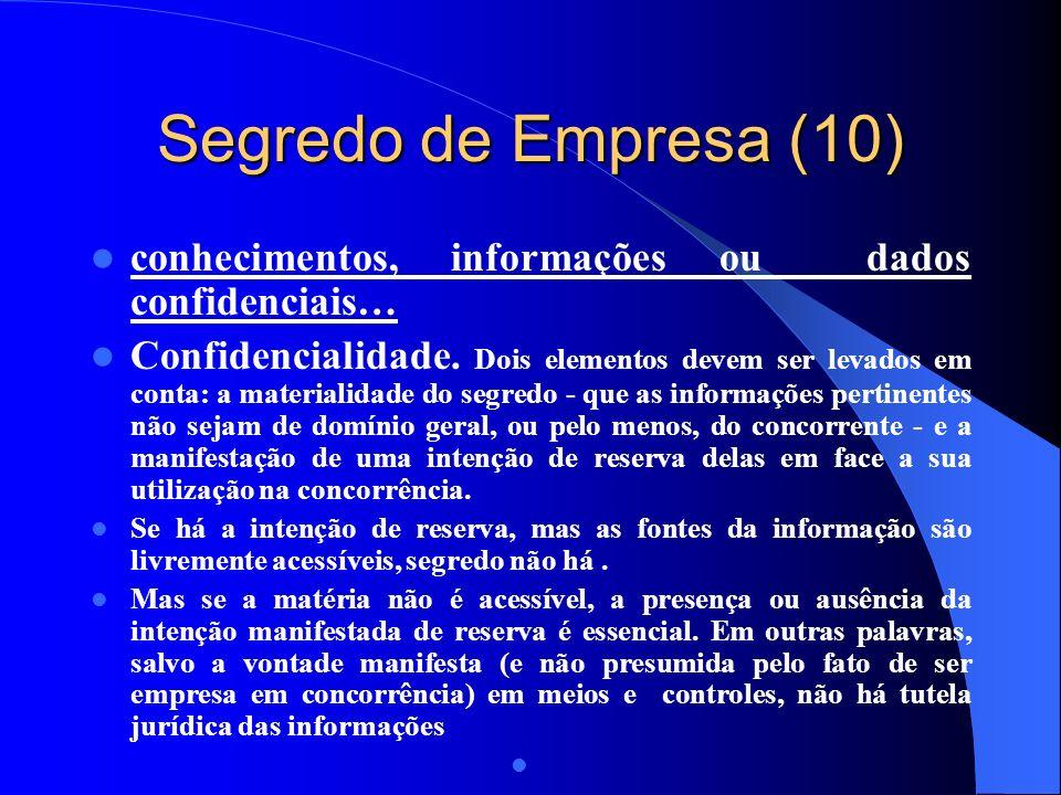 Segredo de Empresa (10) conhecimentos, informações ou dados confidenciais…