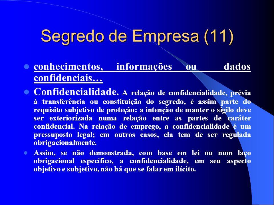Segredo de Empresa (11) conhecimentos, informações ou dados confidenciais…