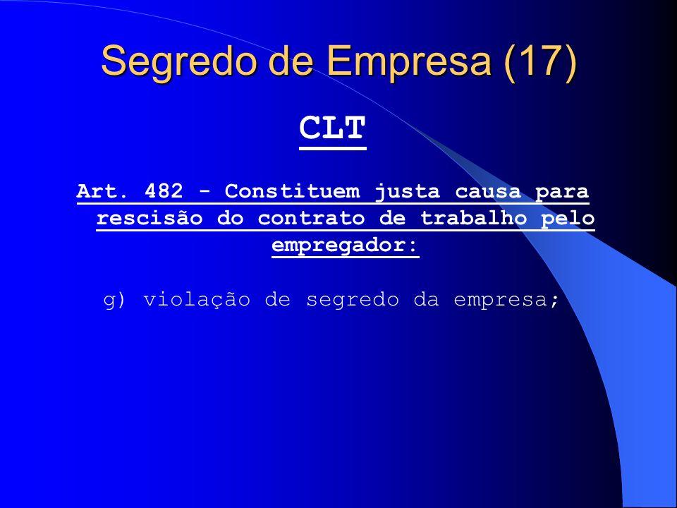 g) violação de segredo da empresa;