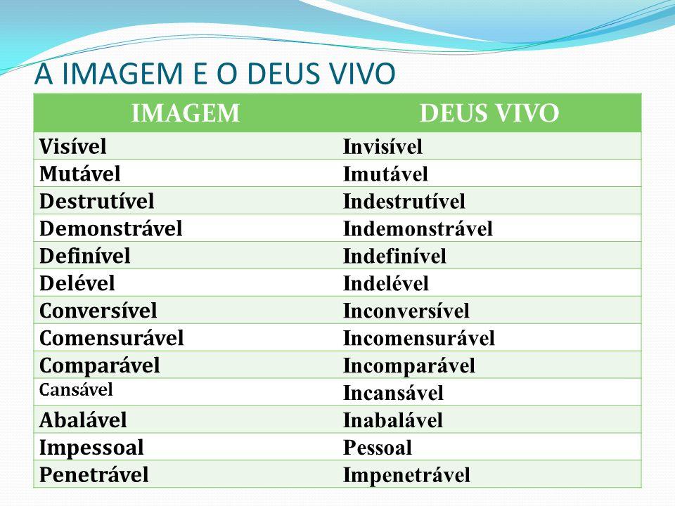 A IMAGEM E O DEUS VIVO IMAGEM DEUS VIVO Visível Invisível Mutável