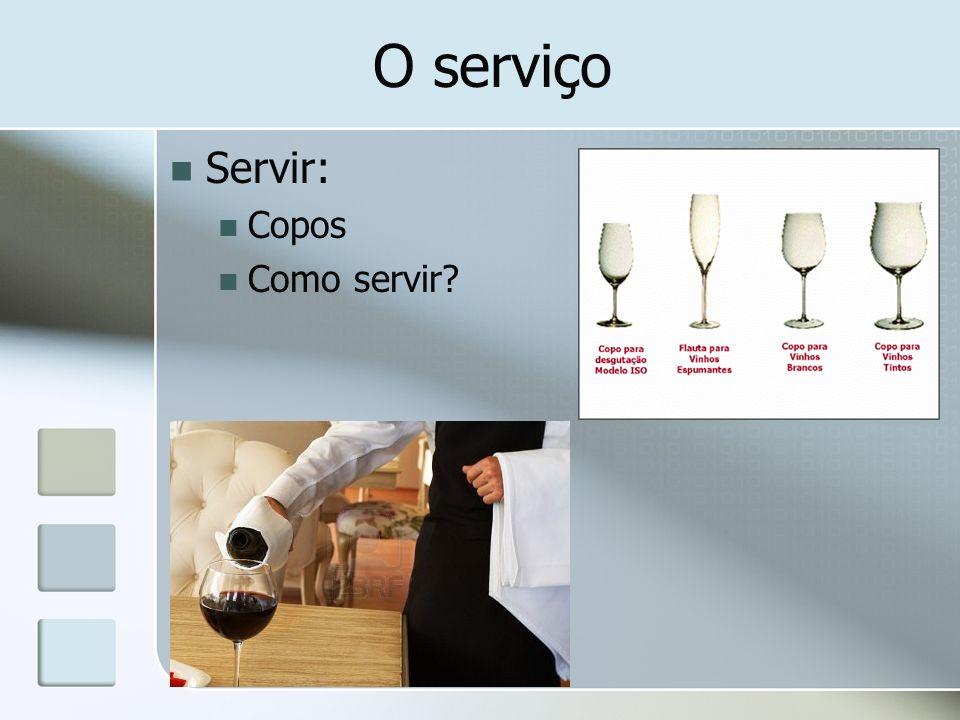 O serviço Servir: Copos Como servir