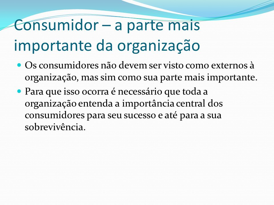 Consumidor – a parte mais importante da organização