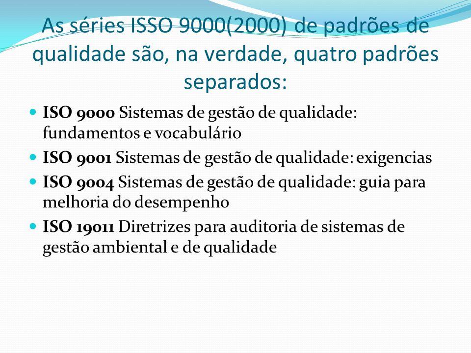 As séries ISSO 9000(2000) de padrões de qualidade são, na verdade, quatro padrões separados: