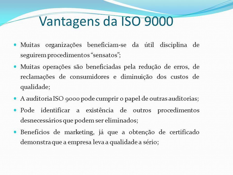 Vantagens da ISO 9000 Muitas organizações beneficiam-se da útil disciplina de seguirem procedimentos sensatos ;