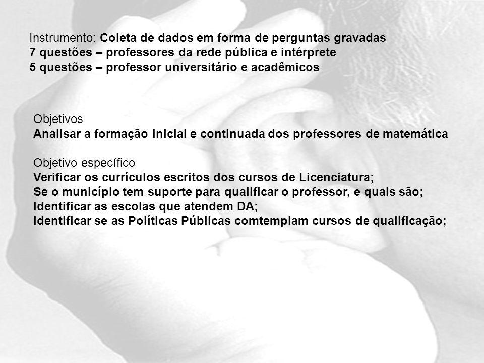 Instrumento: Coleta de dados em forma de perguntas gravadas 7 questões – professores da rede pública e intérprete 5 questões – professor universitário e acadêmicos