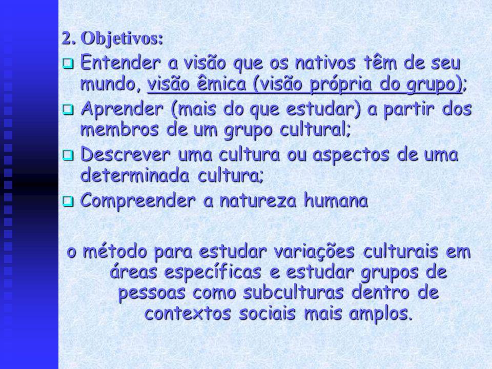 2. Objetivos: Entender a visão que os nativos têm de seu mundo, visão êmica (visão própria do grupo);