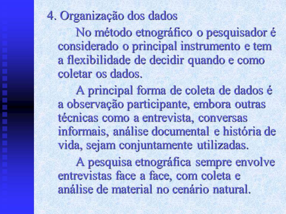 4. Organização dos dados