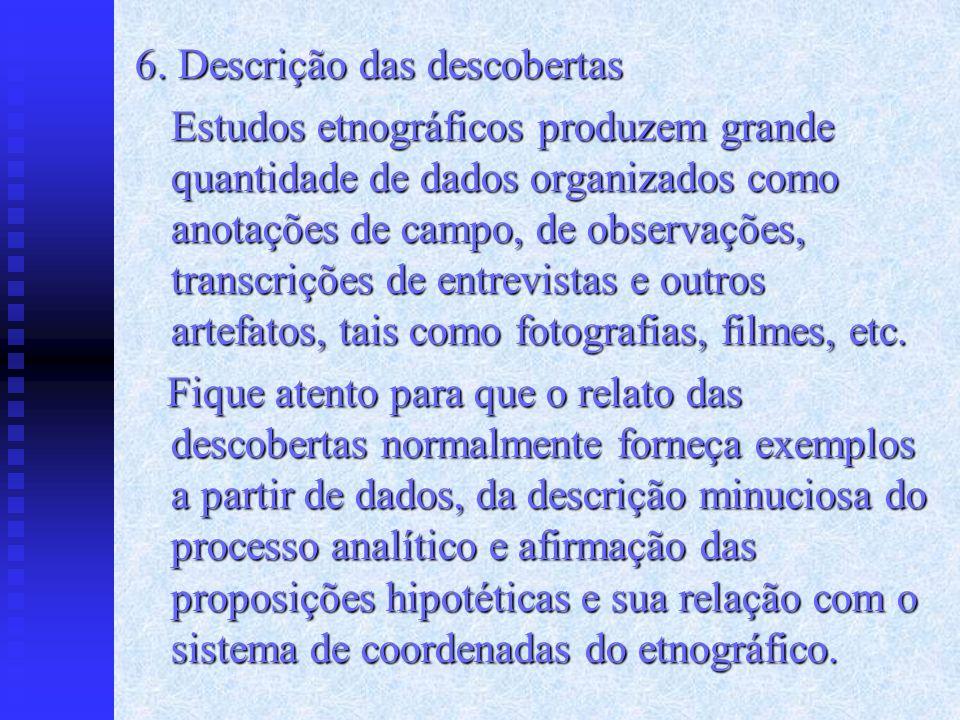 6. Descrição das descobertas