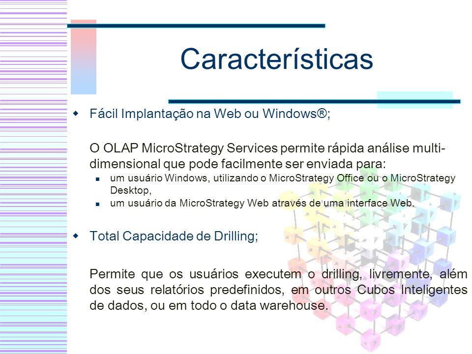 Características Fácil Implantação na Web ou Windows®;