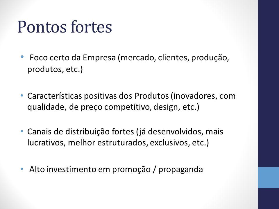 Pontos fortes Foco certo da Empresa (mercado, clientes, produção, produtos, etc.)