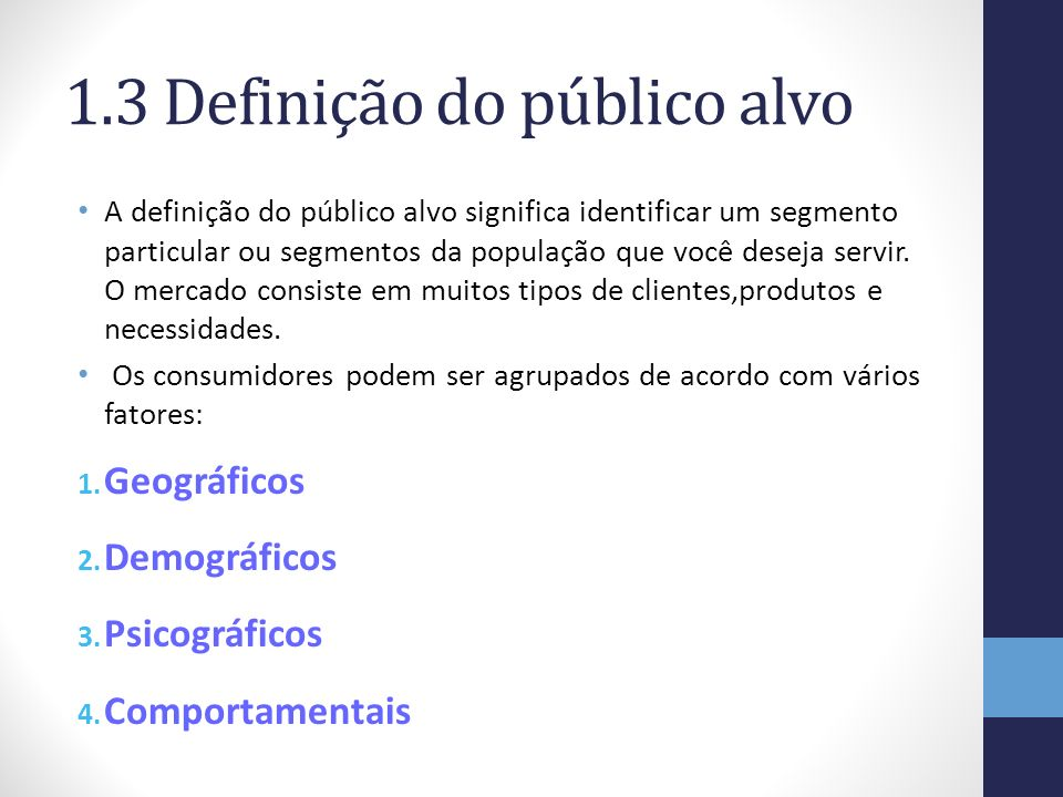 1.3 Definição do público alvo