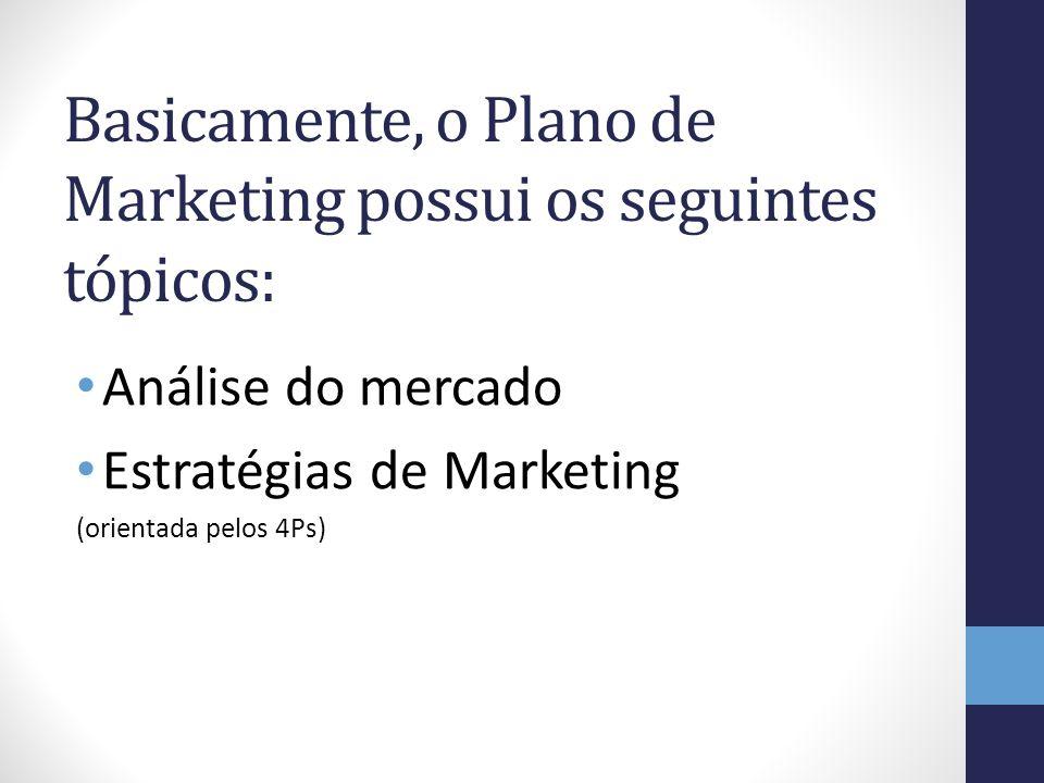 Basicamente, o Plano de Marketing possui os seguintes tópicos: