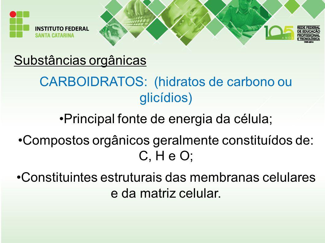 Substâncias orgânicas CARBOIDRATOS: (hidratos de carbono ou glicídios)