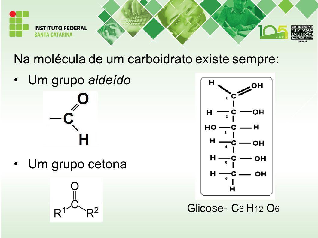 Na molécula de um carboidrato existe sempre: Um grupo aldeído