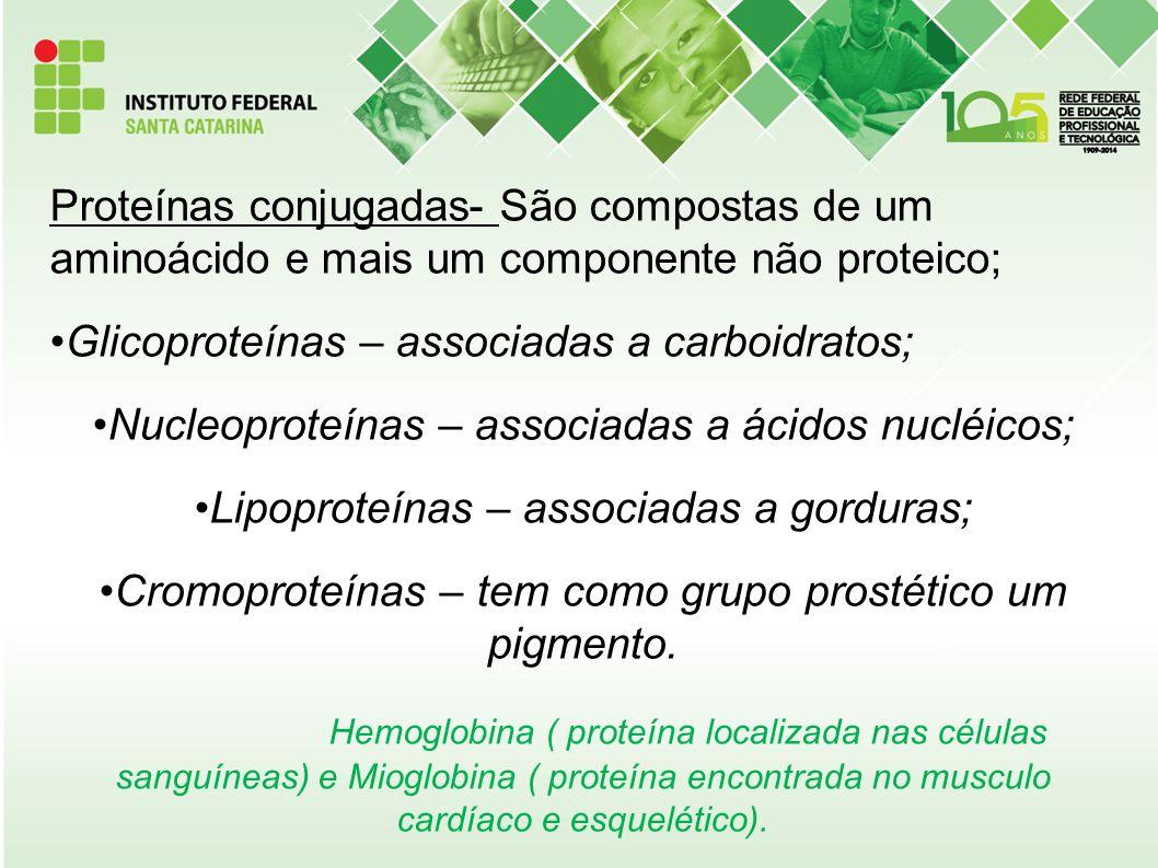 Proteínas conjugadas- São compostas de um aminoácido e mais um componente não proteico;