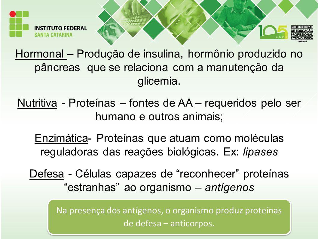 Hormonal – Produção de insulina, hormônio produzido no pâncreas que se relaciona com a manutenção da glicemia. Nutritiva - Proteínas – fontes de AA – requeridos pelo ser humano e outros animais; Enzimática- Proteínas que atuam como moléculas reguladoras das reações biológicas. Ex: lipases Defesa - Células capazes de reconhecer proteínas estranhas ao organismo – antígenos