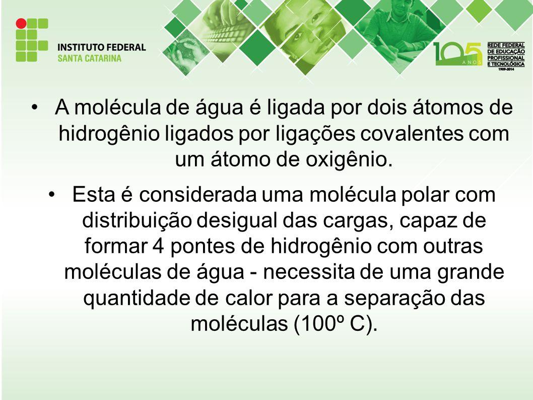 A molécula de água é ligada por dois átomos de hidrogênio ligados por ligações covalentes com um átomo de oxigênio.