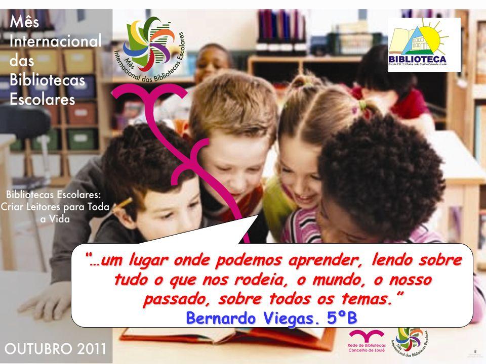 …um lugar onde podemos aprender, lendo sobre tudo o que nos rodeia, o mundo, o nosso passado, sobre todos os temas. Bernardo Viegas.