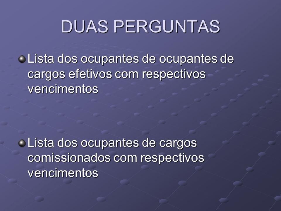 DUAS PERGUNTAS Lista dos ocupantes de ocupantes de cargos efetivos com respectivos vencimentos.