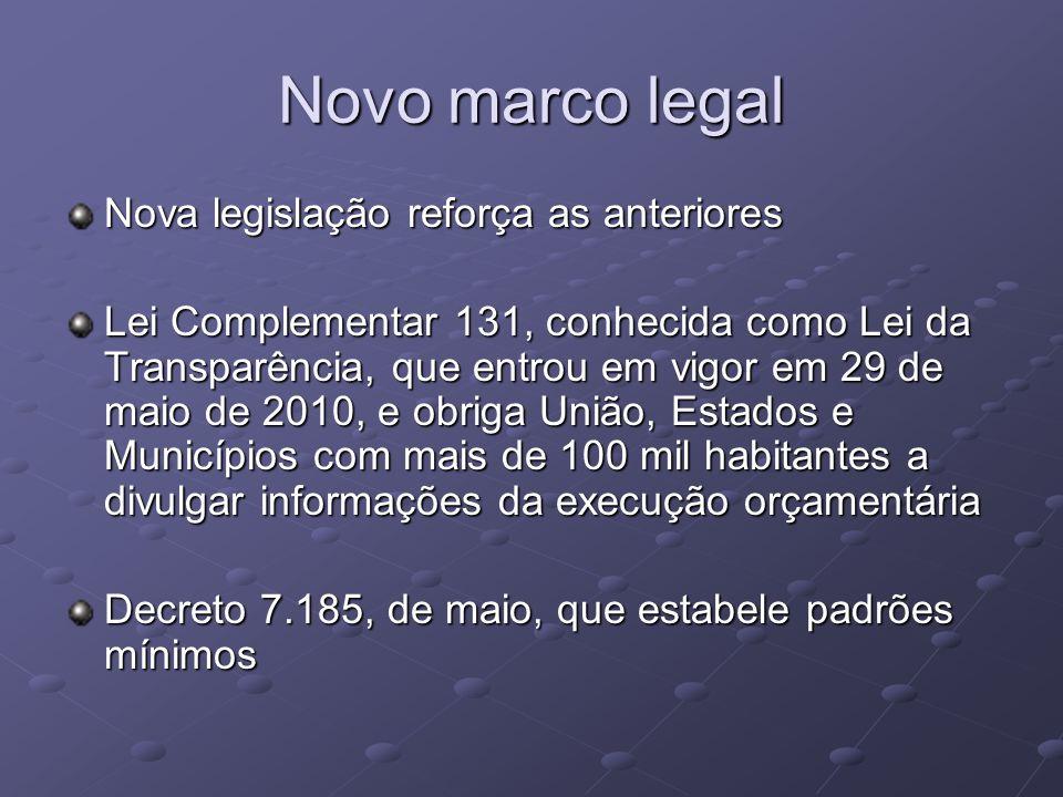 Novo marco legal Nova legislação reforça as anteriores