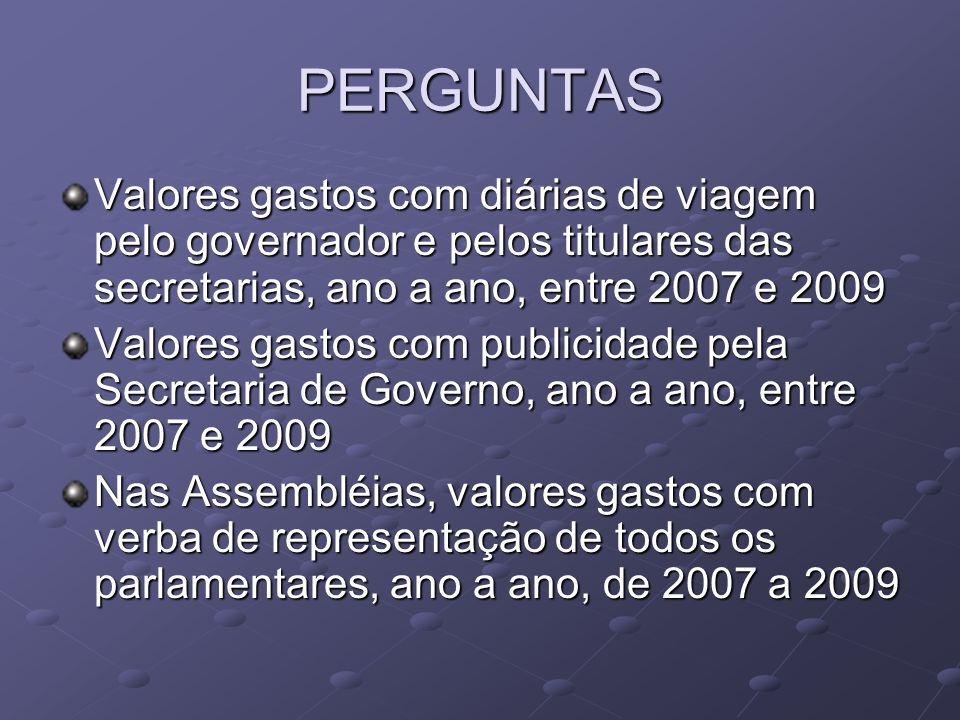 PERGUNTAS Valores gastos com diárias de viagem pelo governador e pelos titulares das secretarias, ano a ano, entre 2007 e 2009.