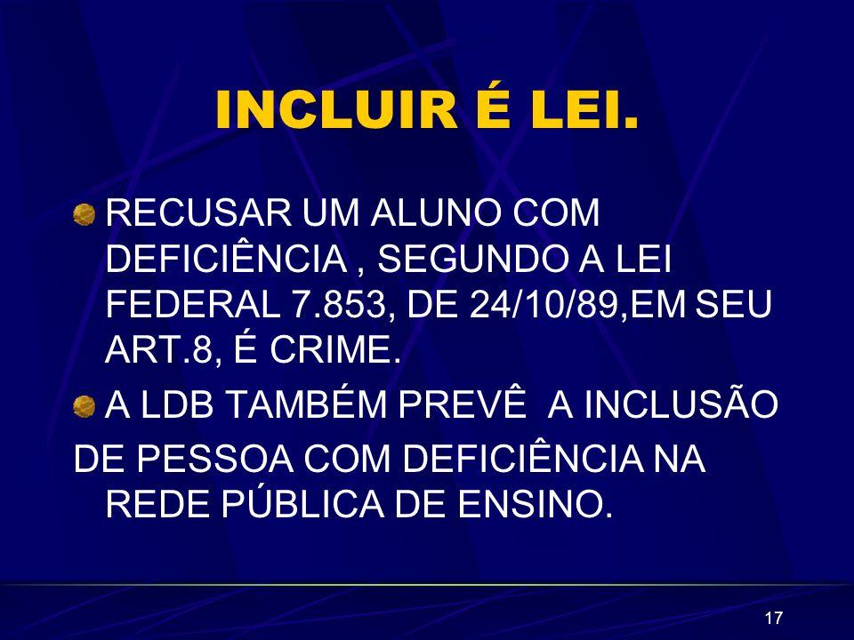 INCLUIR É LEI.RECUSAR UM ALUNO COM DEFICIÊNCIA , SEGUNDO A LEI FEDERAL 7.853, DE 24/10/89,EM SEU ART.8, É CRIME.