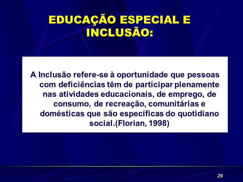 EDUCAÇÃO ESPECIAL E INCLUSÃO: