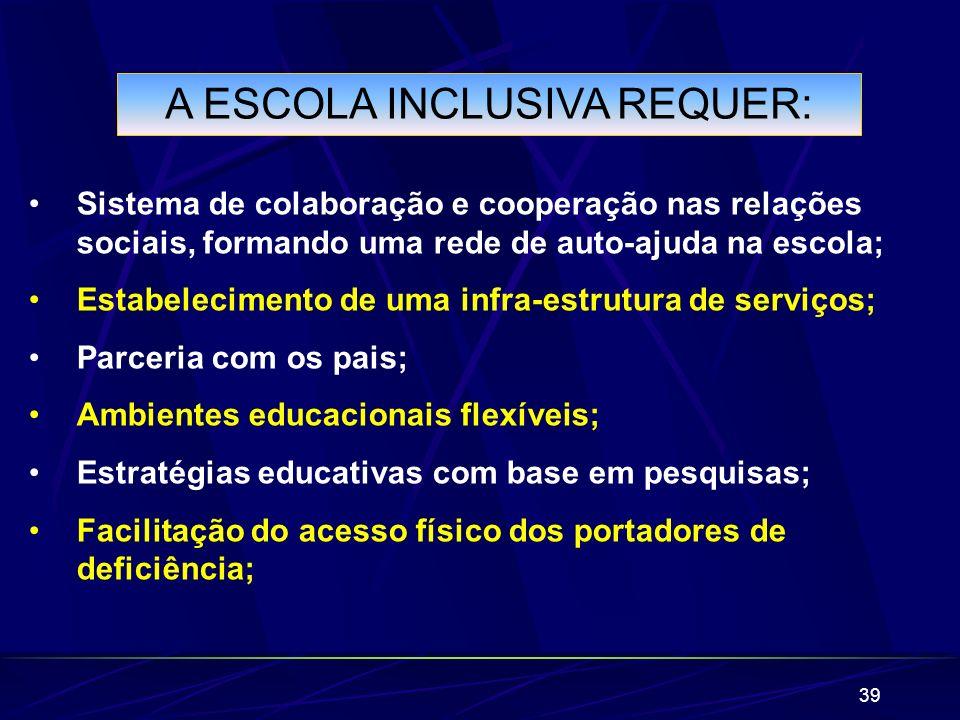 A ESCOLA INCLUSIVA REQUER: