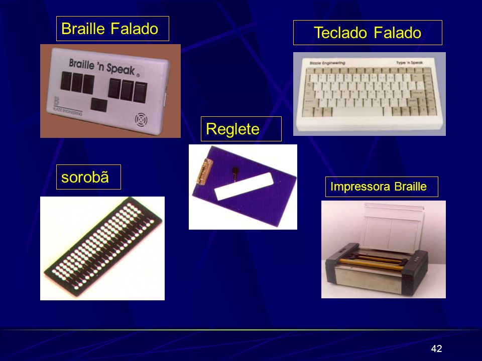 Braille Falado Teclado Falado Reglete sorobã Impressora Braille