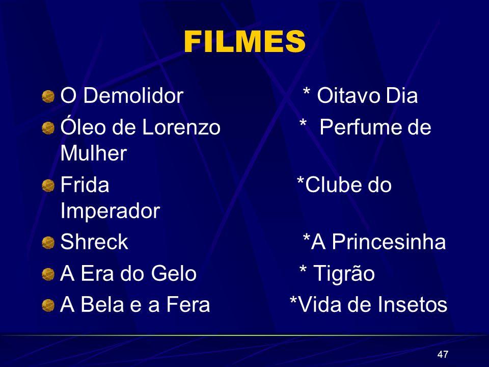 FILMES O Demolidor * Oitavo Dia Óleo de Lorenzo * Perfume de Mulher