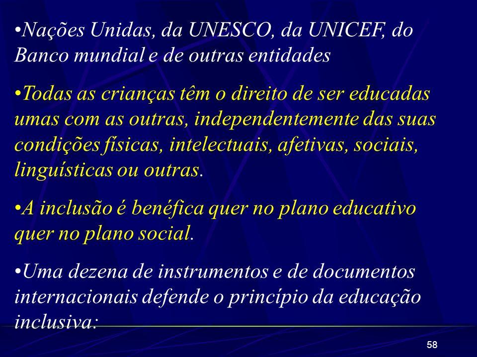 Nações Unidas, da UNESCO, da UNICEF, do Banco mundial e de outras entidades