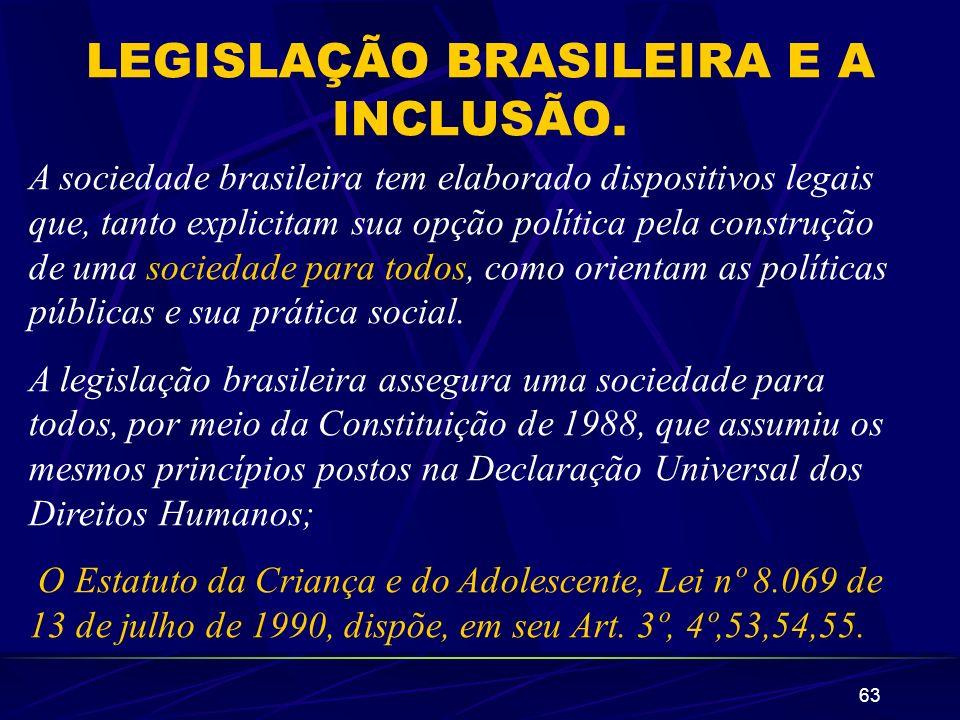 LEGISLAÇÃO BRASILEIRA E A INCLUSÃO.