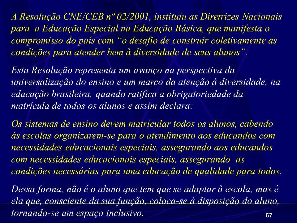 A Resolução CNE/CEB nº 02/2001, instituiu as Diretrizes Nacionais para a Educação Especial na Educação Básica, que manifesta o compromisso do país com o desafio de construir coletivamente as condições para atender bem à diversidade de seus alunos .