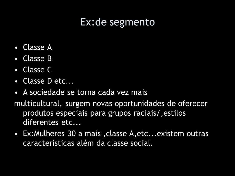 Ex:de segmento Classe A Classe B Classe C Classe D etc...
