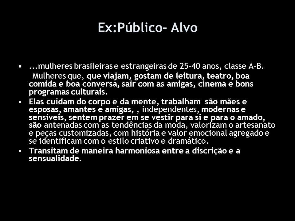 Ex:Público- Alvo...mulheres brasileiras e estrangeiras de 25-40 anos, classe A-B.