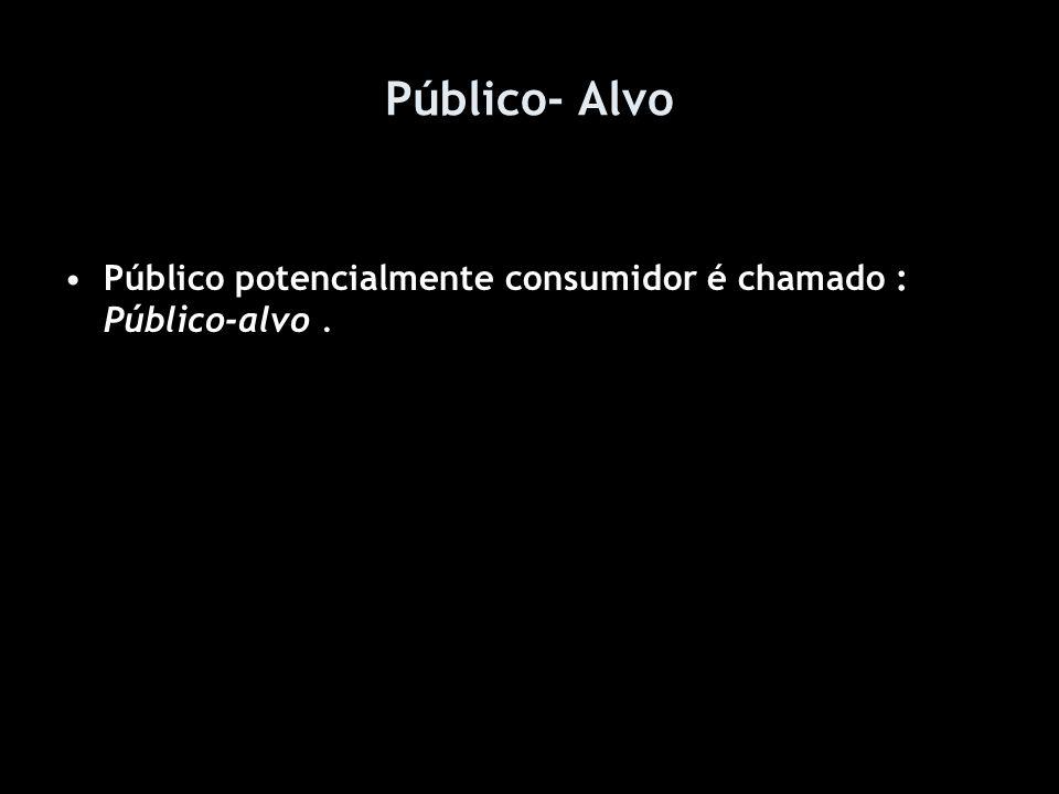 Público- Alvo Público potencialmente consumidor é chamado : Público-alvo .