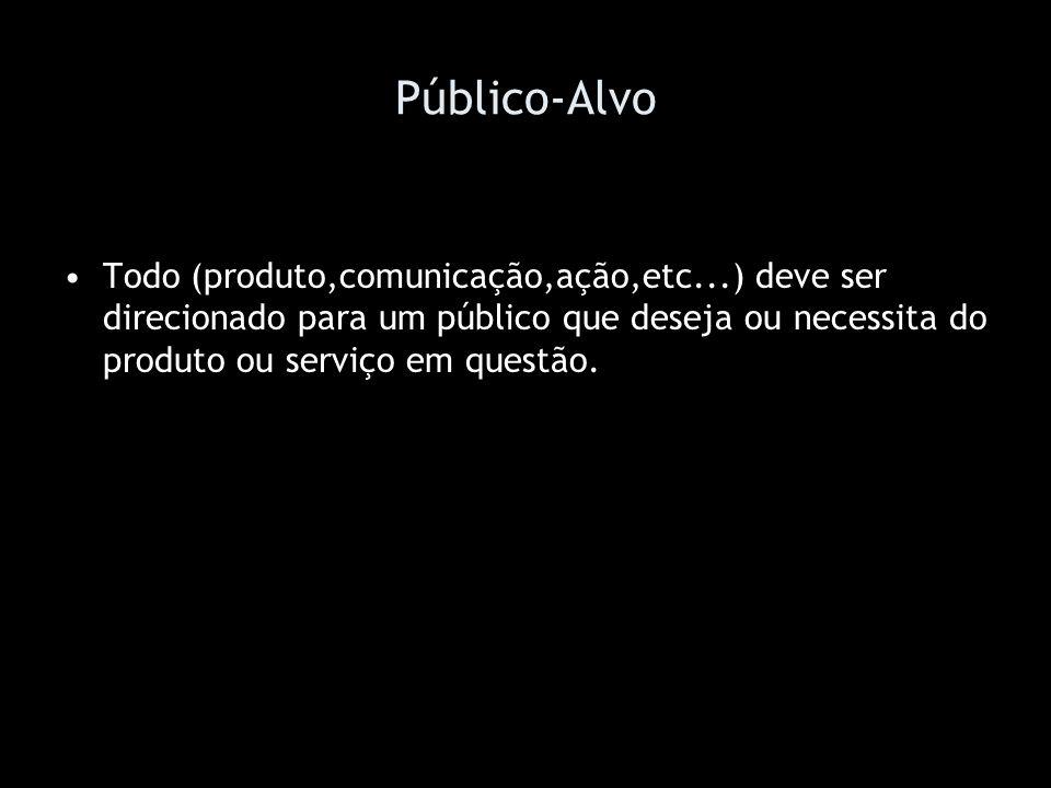 Público-AlvoTodo (produto,comunicação,ação,etc...) deve ser direcionado para um público que deseja ou necessita do produto ou serviço em questão.