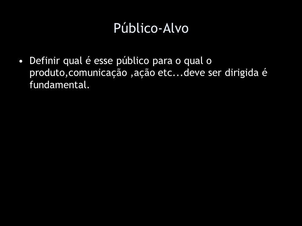 Público-AlvoDefinir qual é esse público para o qual o produto,comunicação ,ação etc...deve ser dirigida é fundamental.