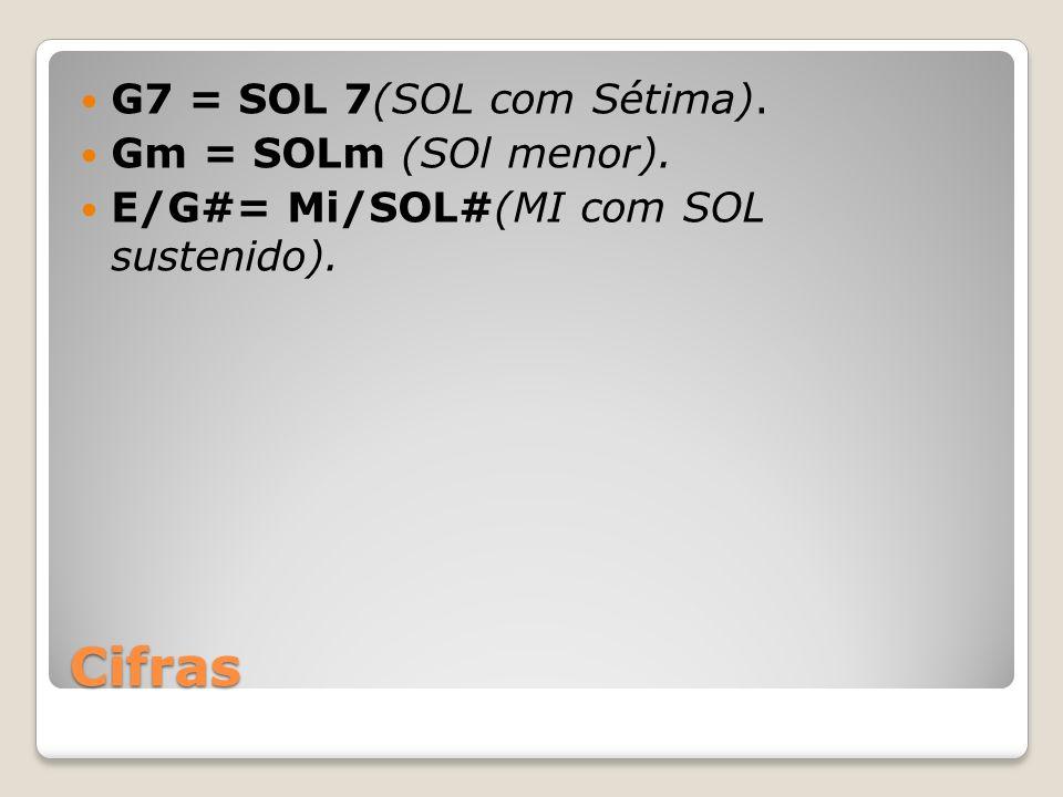 Cifras G7 = SOL 7(SOL com Sétima). Gm = SOLm (SOl menor).