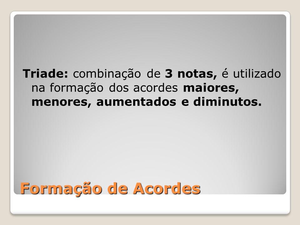 Triade: combinação de 3 notas, é utilizado na formação dos acordes maiores, menores, aumentados e diminutos.